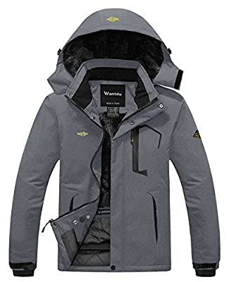 Wantdo Men's Waterproof Winter Ski Jackets Windbreaker Hood Coat Dark Grey L