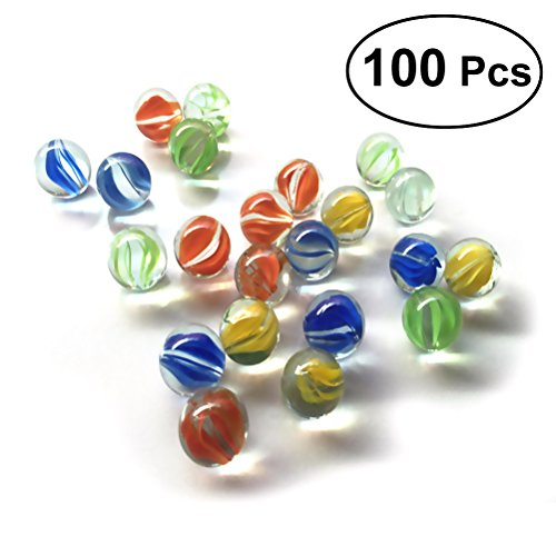 NUOLUX Set of 100 16MM Cats Eyes Glass Shooter Colorful Glass Beads Balls for Kids
