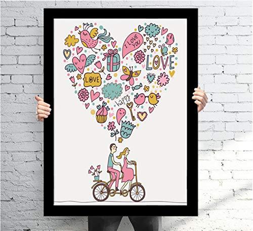 yaoxingfu Kein Rahmen Cartoon Liebhaber Valentinstag Dekoration NGS 3 Stück Leinwand NGS auf Leinwand Wandkunst Dekoration Bilder 60x90cm