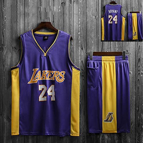 SYXBB-Lampe Baloncesto Camiseta NBA Lakers # 24 de Kobe Bryant, Jersey, Uniforme del Baloncesto de los Hombres de Las Mujeres clásicos Jerseys Top,Púrpura,L