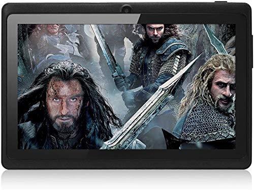 Haehne 7 Pollici Tablet PC, Google Android 4.4 Quad Core, 512MB RAM 8GB Rom, Doppia Fotocamera, WiFi, Bluetooth, per Bambini e Adulti, Nero