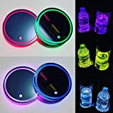 2PCS LED Car Cup Holder Lights Up Coaster, 7 Colors Light Up Cup Holders for Your Car, Light Up Car Coasters for Cup Holders, Car Cup Holder Coasters, Colorful Interior Accessories Decoration of Car