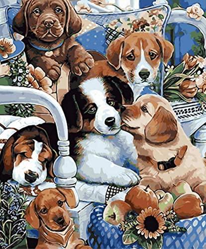 Pintar por Numeros Adultos Perro animal pintura para niños DIY Kit de Pintura Lona Preimpresos manualidades adultos para la Decoración de la Casa 40x50cm (Sin Marco)