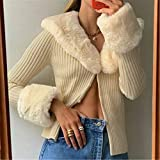 Sweater Vintage Coat Knit Cardigan V-Neck Top, Womens Long Sleeve Button Sweater with Faux Fur Trim Collar Cuffs (Yellow, M)