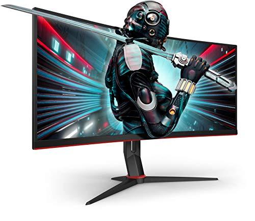 AOC Gaming CU34G2X 86 cm (34 Zoll) Curved Monitor (QHD, HDMI, DisplayPort, Free-Sync, 1ms Reaktionszeit, 144 Hz, 3440x1440) schwarz/rot