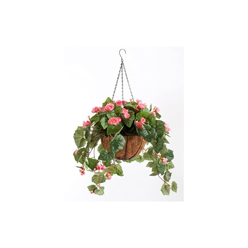 """silk flower arrangements oakridge miles kimball fully assembled artificial begonia hanging basket, 10"""" diameter and 18"""" chain – pink polyester/plastic flowers in metal and coco fiber liner basket for indoor/outdoor use"""