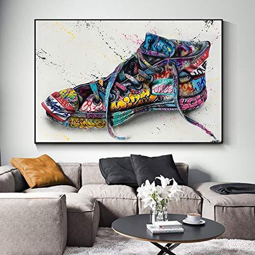 wZUN Graffiti Art Zapatos creativos Pop Art Lienzo Pintura Cartel impresión Sala de Estar decoración del hogar Arte de la Pared 60x90 Sin Marco