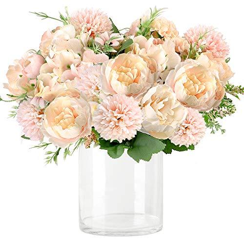 Whonline 3pcs Artificial Flowers Silk Hydrangea Faux Camellia Bouquet Flowersfor Wedding Bouquet Centerpieces Flower Arrangements Decorations