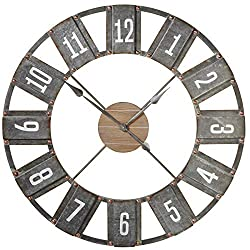 Midwest CBK Weathered Black Metal Open Face Rustic Wall Clock