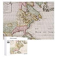 INOV 早い(1708年)アメリカ 地図 ~ ヴィンテージ ジグソーパズル 木製パズル 500ピース キッズ 学習 認知 玩具 大人 ブレインティー 知育 puzzle (38 x 52 cm)