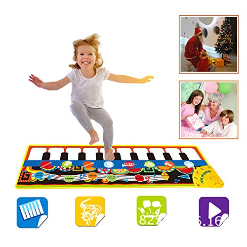 1 2 3 Year Old Boy Girl Gifts, Piano Music Mat for Kids, Floor Piano Playmat Dance Mat Musical Educational Toys for 1-3 Year Old Toddler Babies Xmas Christmas Birthday Gifts for 2 Year Old Boy Black