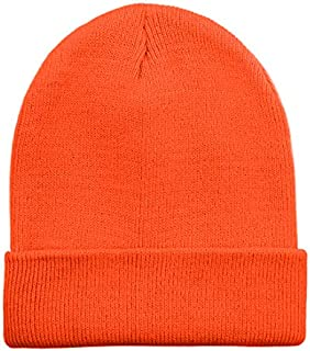 5258c351f Opromo High Visibility Neon Color Cuffed Long Beanie Reflective Knit Winter  Hat