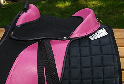 Tysons Breeches Sattel Minipony Shetty Pony Minishetty Ponysattel auch f. Holzpferd geeignet 10 12 Zoll Rose Schwarz Set incl. Zubehör ! (Baby Rosa) (10 Zoll)