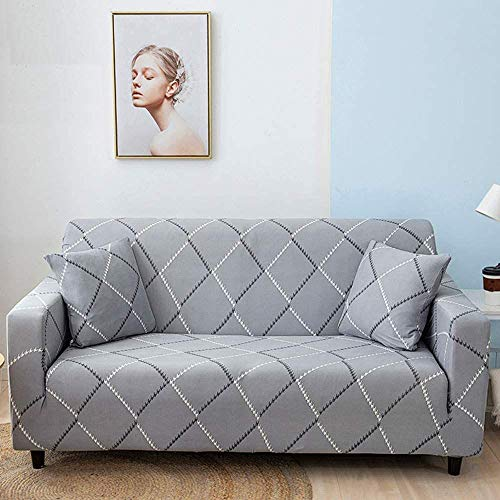 HFTYCC Funda para sofá de 1- 4 plazas Fundas para sofá, patrón de Tela elástica, Fundas para sofá elásticas Antideslizantes para Silla, Protector de Muebles extraíble y Lavable, 3 plazas, a Cuadros