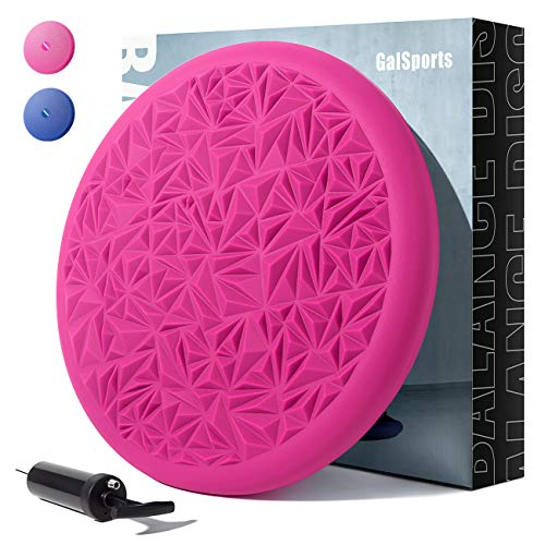 GalSports Core Balance Disc - Home Exercise Wobble Cushion (Free Guide), Office Desk Chair, Wiggle Seat for Therapy (Exercise & Fitness & Rehabitation) (Magenta)