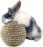 RILLATEK Bola de Paja de césped Natural, Juguete para Mascotas Parrot Gnawing Balls de Juguete de Juguetes de Conejo para el Accesorio de la Jaula de Salud Dental (Color : -, Talla : -)
