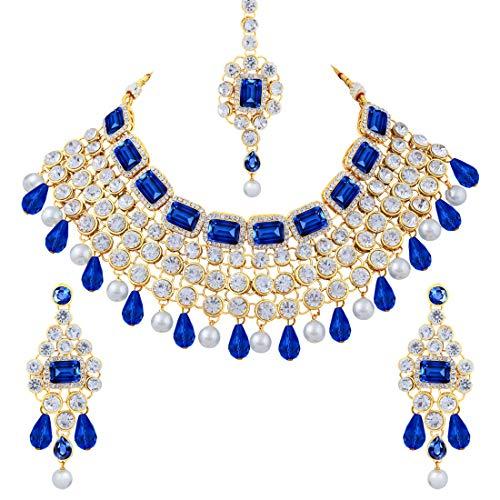 Aheli - Conjunto de collar y pendientes de madera de Bollywood para mujeres y niñas