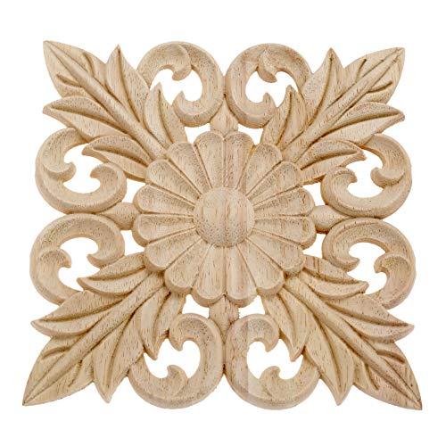 10 molduras de madera para tallar adornos de husos de flores, cesta tallada para carpintería de esquina, aplique onlay para muebles de pasillo puente de 15 cm
