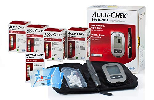 Accu Chek 210 Test Strips and Monitor Tester Bundle with Accuchek Softclix + Lancets + Sterilizing Finger Wipes Very Long Expiration Dates