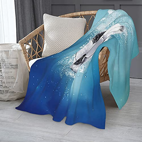 Manta de fútbol con salpicaduras de agua, única y ligera, de franela sherpa, suave felpa difusa para sofá/sofá/siesta de oficina, 152 x 127 cm