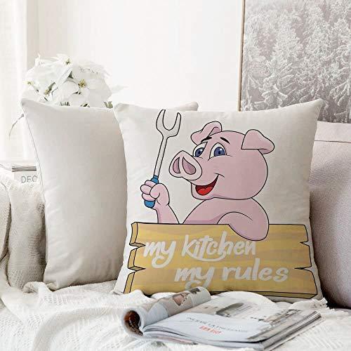 Taies d'oreillers Maison Décoration, Décor, Pig Chef tenant un barbecue Barbecue pinces à fourche Menu de restauration rapide de mascotte de caractère de ,Chambre Salon Canapé Coussins Oreillers,