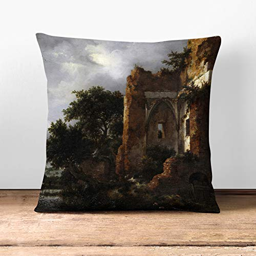 Big Box Art Cushion and Cover - Jacob Ruisdael Landscape (3) - Single Square Throw Pillow - Soft Faux Suede Material - Double-sided - 40x40 cm