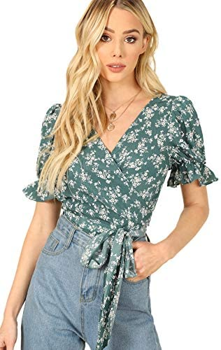 SheIn Women s V Neck Short Sleeve Self Tie Wrap Floral Crop Tops Blouse Green L product image