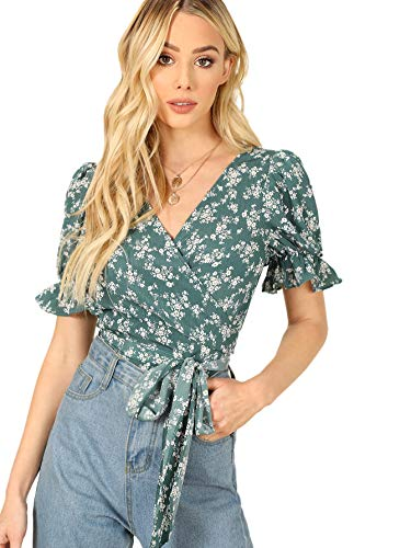 SheIn Women's V Neck Short Sleeve Self Tie Wrap Floral Crop Tops Blouse Green M