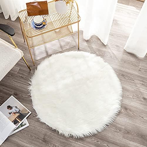 SXYHKJ Peau de Mouton synthétique,Cozy Sensation comme véritable Laine Tapis en Fourrure synthétique, Man-Made Laine Tapis de Canapé Coussin (Blanc, 45x45cm)