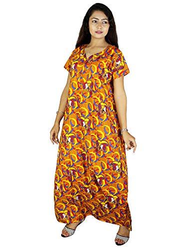 Riyashree Club Women's Cotton Maxi Nighty- Free Size Multicolour Combo (Pack of 2) N009 N019