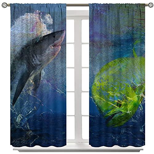 Mahi Fish Shark Ocean oscurante, set di 2 pannelli con asta per finestra, tenda per camera dei bambini, asili, matrimoni, cerimonie, feste, decorazioni per la casa