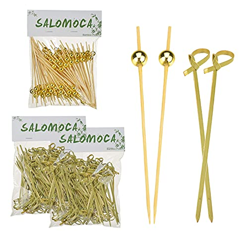 200 PCS Bamboo Looped Knot Cocktail Picks and 100 PCS Handmade Wood Toothpicks with Gold Pearl Natural Wooden Appetizers Sticks for Party Supplies Food Drink Garnish Skewers