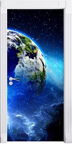 Stil.Zeit Möbel Planète Terre Murale, Format: 200x90cm, Cadre de Porte, Porte Autocollants, décoration de Porte, Porte Autocollants