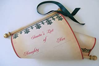 Santa's List of Naughty and Nice wide parchment scroll, 8x19 inch paper, blank for hand written list, Nordic design, with red storage tube