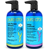 PURA D'OR Scalp Therapy and Healing Scalp Shampoo & Conditioner Set For Dry, Itchy Scalp - Hydrates and Nourishes Hair with Tea Tree, Argan Oil & Biotin, All Hair Types, Men Women (Packaging May Vary)