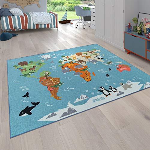 Paco Home Kinder-Teppich Für Kinderzimmer, Spiel-Teppich, Weltkarte Mit Tieren, In Grün, Grösse:200x290 cm