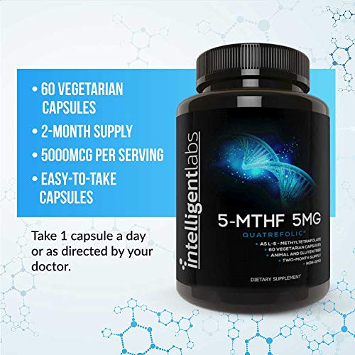 5MG L-5-MTHF by Intelligent Labs, L-5-Methyltetrahydrofolate Activated Folic Acid Supplement as Quatrefolic Acid® - Activated Folate, 60 Capsules - 2 Months Supply! 5mg = 5000mcg MTHF!