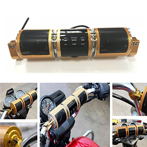 Waterproof Bluetooth Motorcycle Scooter Bike ATV Jet Ski Stereo Sound System Radio Remote Alarm Speaker FM Radio MP3 Player (Gold)