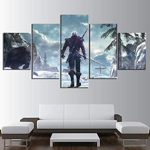 Tacbz 5 Leinwand, Dekoration für Haus, Malerei, 5-teilig, Wildwall, Wand, HD-Druck, modernes Kunstdruck, Leinwand, modular, Bilder, Büro, zu Hause, Schlafzimmer, 200 x 100 cm