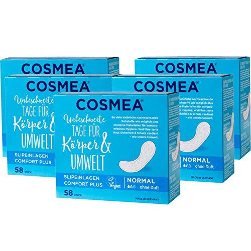 Cosmea Slipeinlagen normal, ohne Duft, Vorteilspack (5 x 58 Stk). Hygiene-Einlagen aus nachwachsenden Rohstoffen. Damen-Hygiene im Einklang mit der Natur