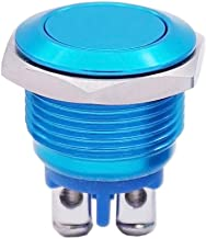 Twidec / 16mm Waterproof Blue Metal Shell Momentary Flat Push Button Switch 3A/250V AC SPST 1NO Start Button for car Modification Switch M-16-BU-P