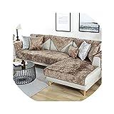 Hotmoment-uk - Funda de sofá de tela de felpa sólida y suave, antideslizante, para sofá, para decoración de sala de estar, color café claro, 70 x 70 cm