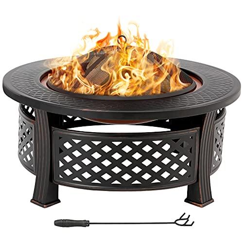 Feuerschalen für den Garten Runde Feuerschale Feuerstelle mit Funkenschutz Grillrost Schürhaken, Metall Feuerkorb 3in1 Multifunktional Fire Pit für BBQ/Heizung/Terrasse/Lagerfeuer