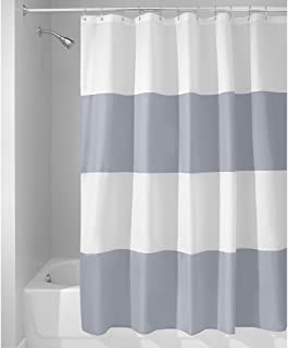 "InterDesign Zeno Water Repellent Shower Curtain, Modern Black & White Stripes, 54"" x 78"", Stall - Mold/Mildew Resistant De..."