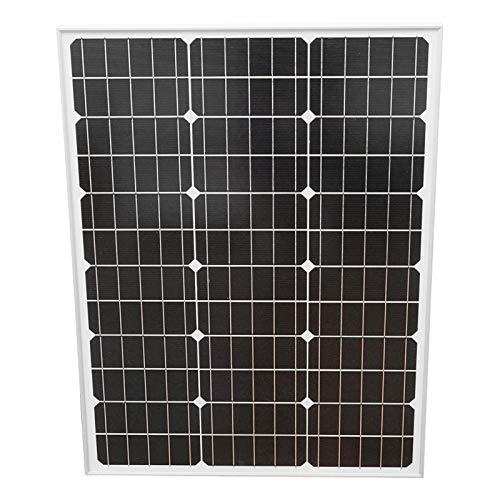 Pannello solare fotovoltaico monocristallino 50W con tensione massima 18V e cavo di collegamento 680x510x25mm Breckner