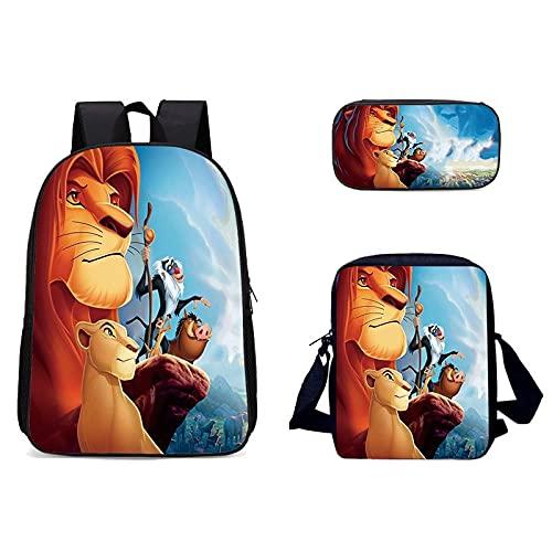 Die Lion King Schultasche dreiteiliger Rucksack Mädchen und Jungen Schultasche Rucksack mit großem Fassungsvermögen geeignet für Schule (Der König der Löwen 02,31cm x 16cm x 44cm)