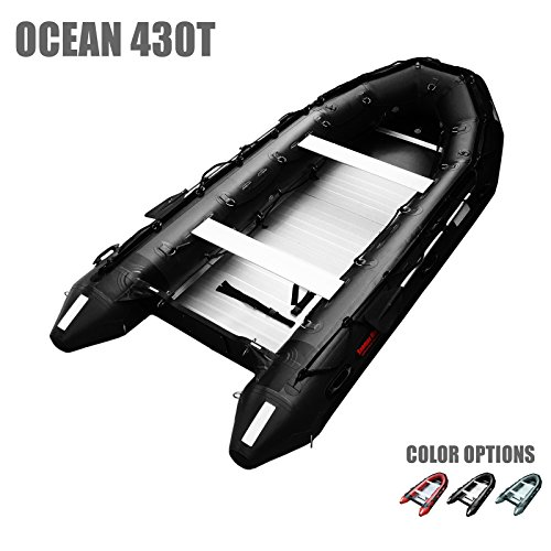 SEAMAX Ocean430T Commercial Grade Inflatable Boat, 14ft. x 6.4ft, 5 Pontoon Chambers, Aluminum Floor, V Bottom, Max Support 35HP Motor, Coast Guard Standard Reflective Tapes, Multi-Purpose (Black)