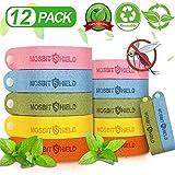 LXTIN 12 Pack Erwachsene Kinder Mückenabweisende Armbänder, Natürlich Pflanze Super Faser Sicher Ungiftig Verstellbares Mückenschutz Armband-Anti,Für Draußen Und Drinnen (Farbe Zufällig)