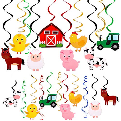 Farm Animal Hanging Swirls Party Ceiling Decorations Barnyard Theme Birthday Baby Shower Decor Event Supplies 30CT