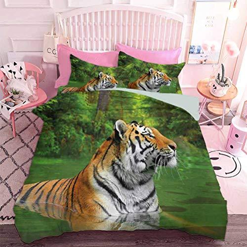 Hiiiman Home Textiles Juego de ropa de cama, juego de cama con diseño de gato grande de Siberia nadando en el lago en el bosque